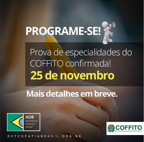 Prova de especialidades do COFFITO – 2018