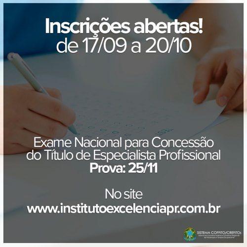Inscrições abertas – Exame Nacional para a Concessão do Título de Especialista Profissional do COFFITO