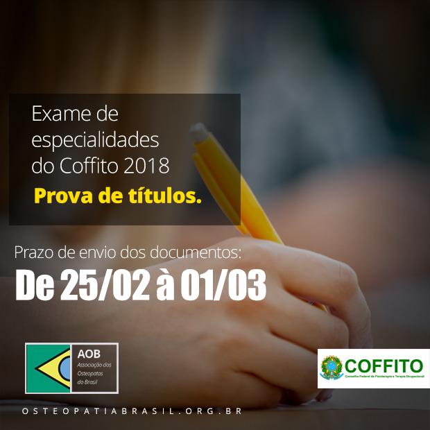 Prova de Títulos – Exame de Especialidades COFFITO 2018