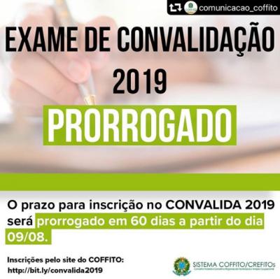Exame de Convalidação 2019 – PRORROGADO