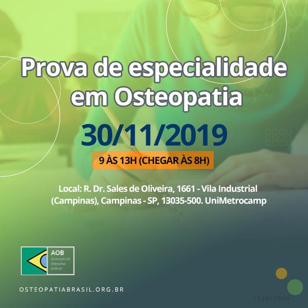 Informações sobre Prova de Especialidade em Osteopatia 2019